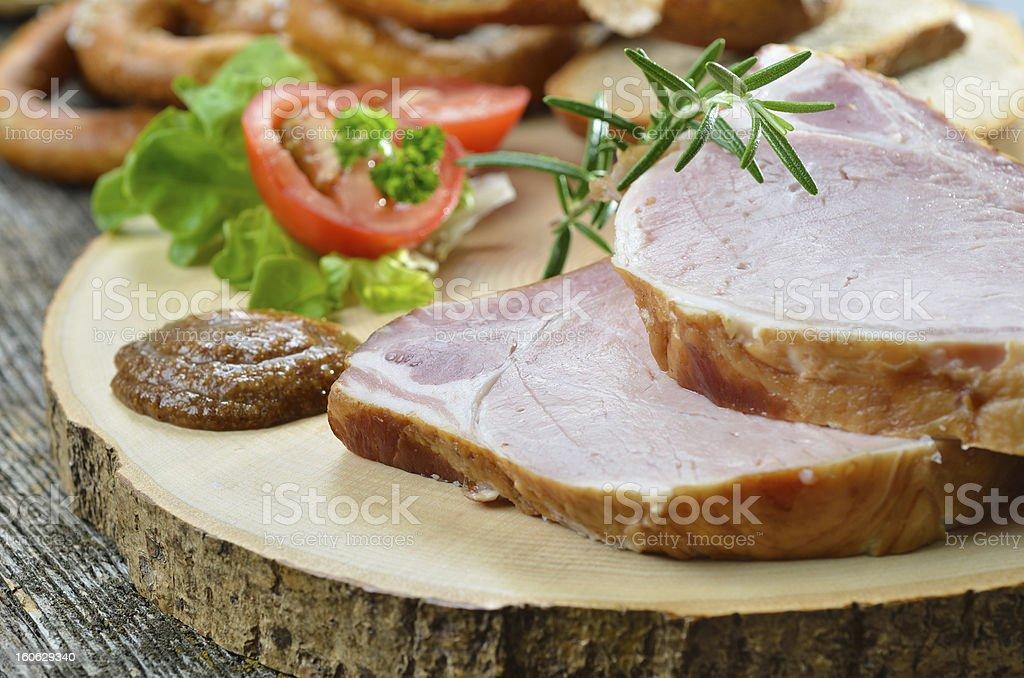 Bavarian smoked pork chops royalty-free stock photo