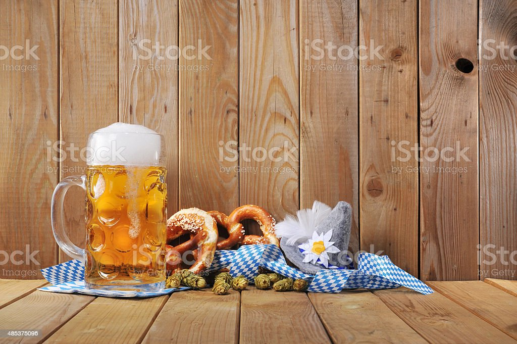 Bavarian soft pretzels with beer stock photo