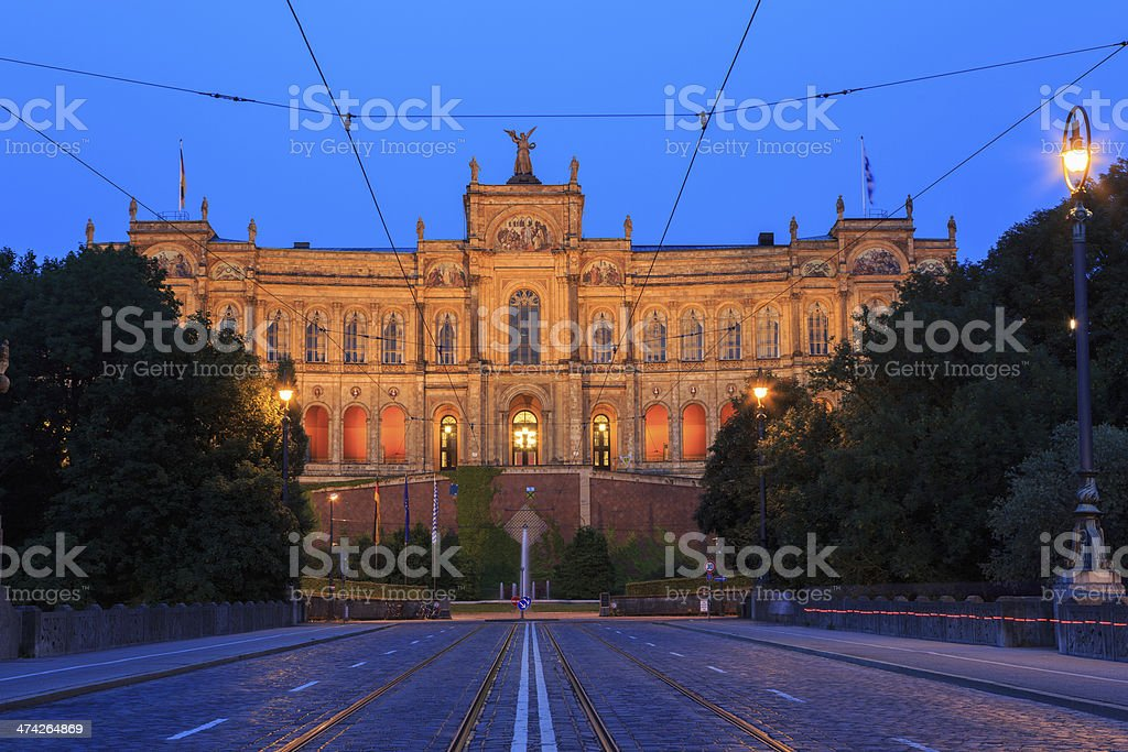 Bavarian State Parliament 'Maximilianeum' in during blue hour stock photo