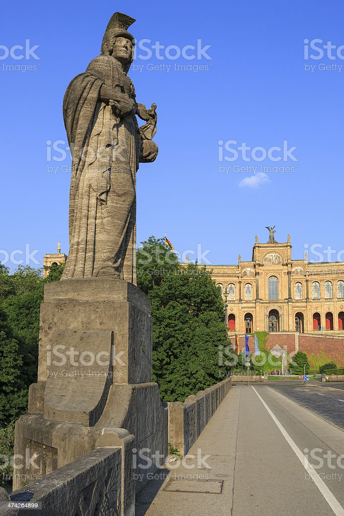 Bavarian State Parliament 'Maximilianeum' in the evening sun stock photo