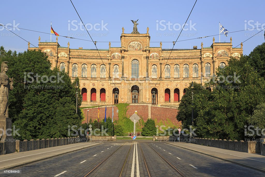 Bavarian State Parliament 'Maximilianeum' in the evening sun stock photo