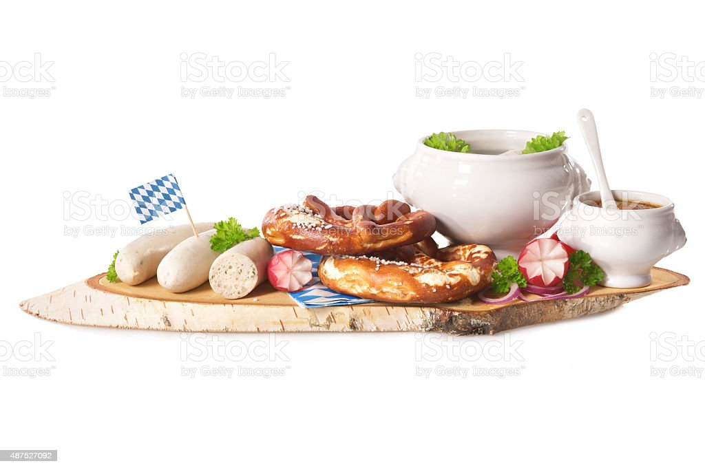 Bavarian veal sausage breakfast stock photo
