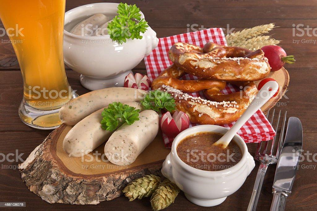 Bavarian veal sausage breakfast stock photo