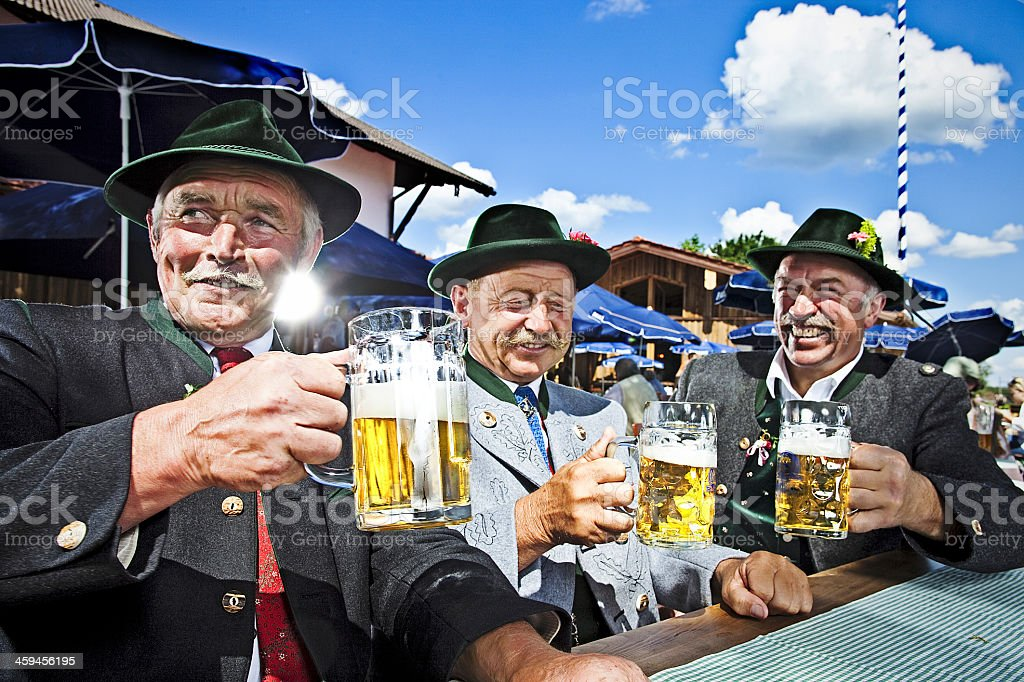 Bavarians In The Beergarden stock photo