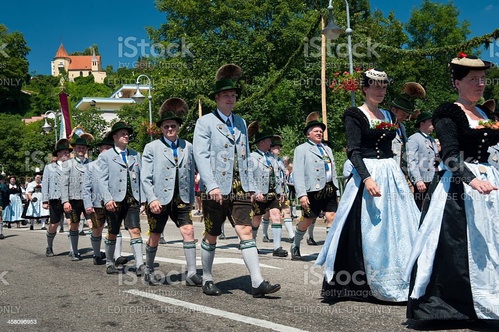 Bavarians in traditional costumes at Gautrachtenfest stock photo