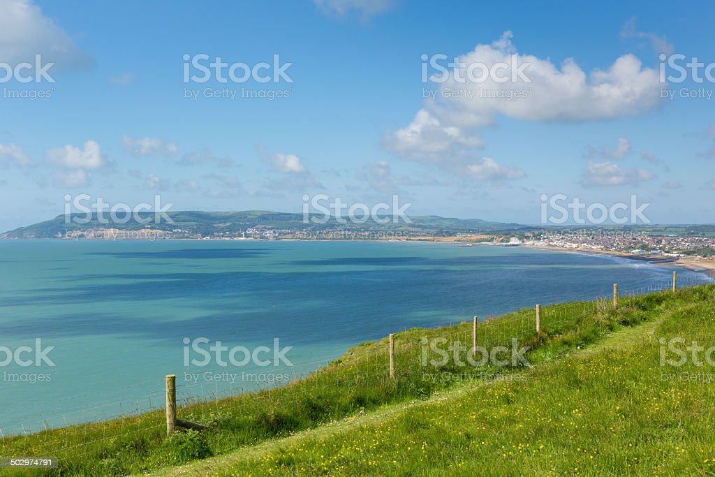 Bay and coastline Shanklin and Sandown Isle of Wight stock photo