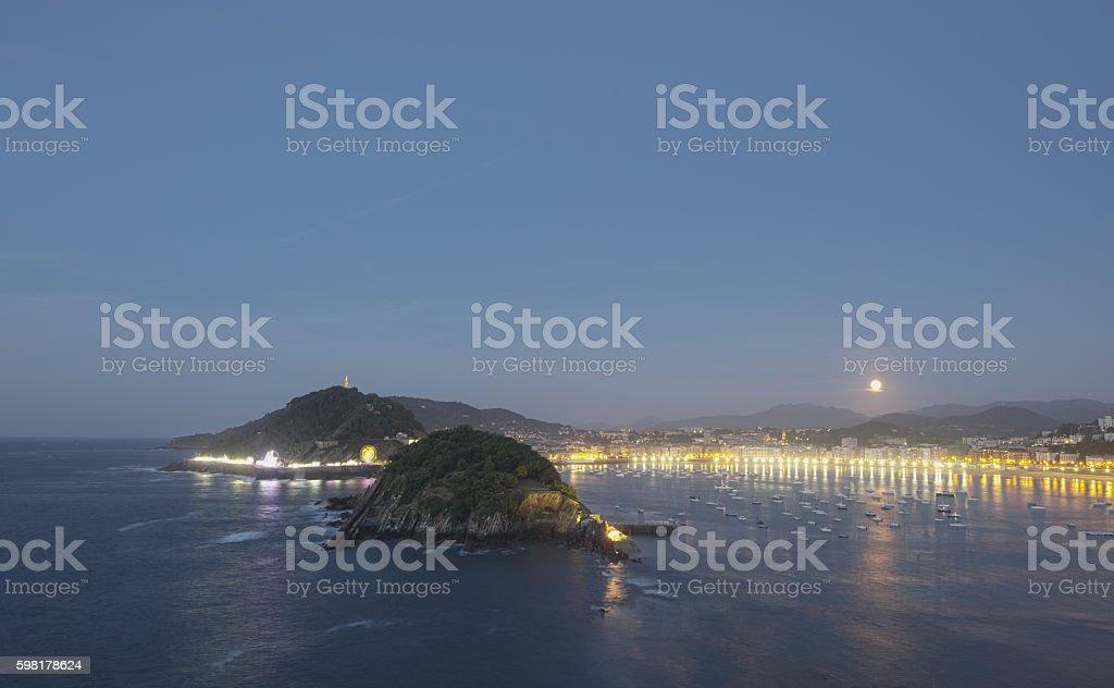 Bay and Concha beach, city of Donostia (San Sebastian). stock photo
