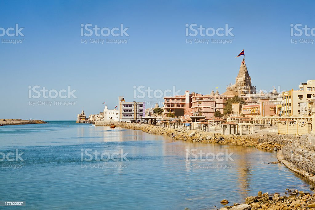 Bay and harbor view of Dwarka Gujarat India stock photo