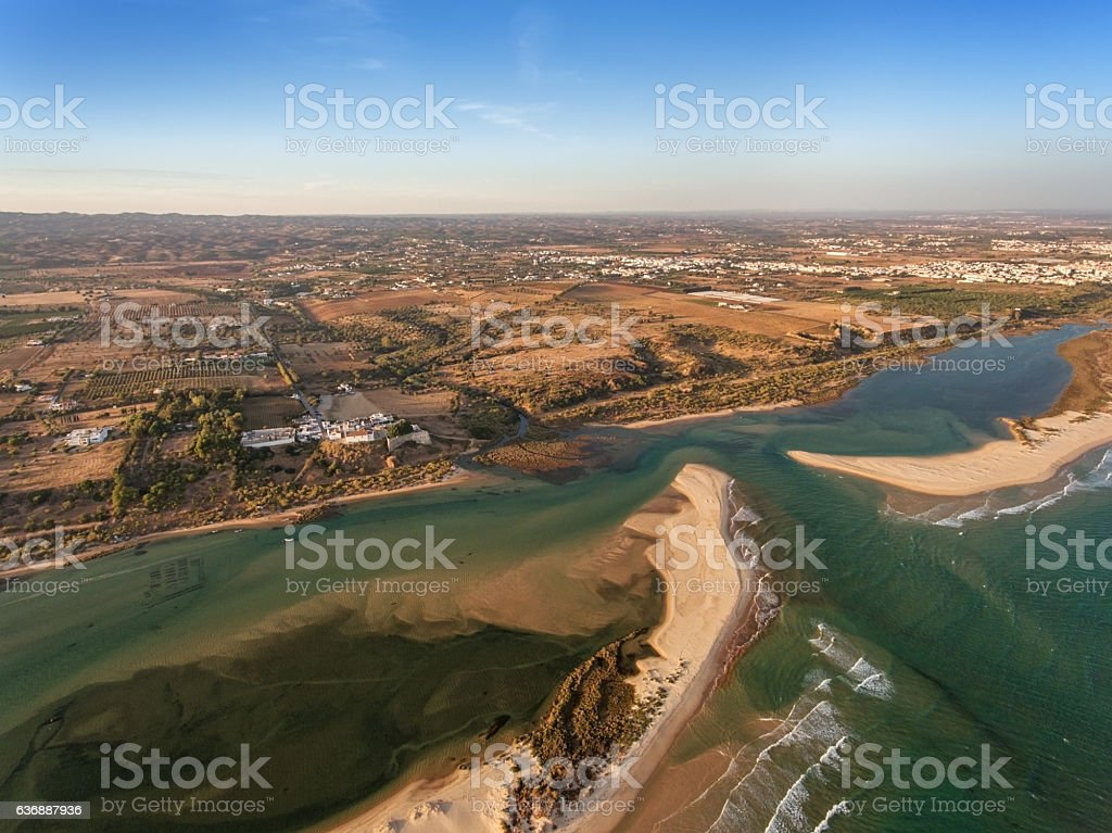 Bay and the village Cacela Velha photographed from the sky. stock photo