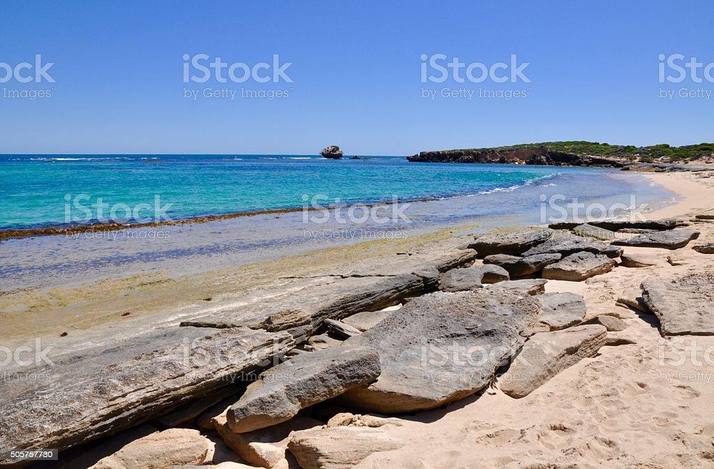 Bay at Cape Peron: Wave Cut Rocks stock photo