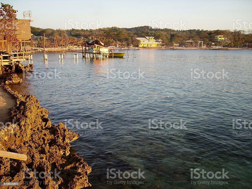 Bay at West End village, Roatan, Honduras stock photo