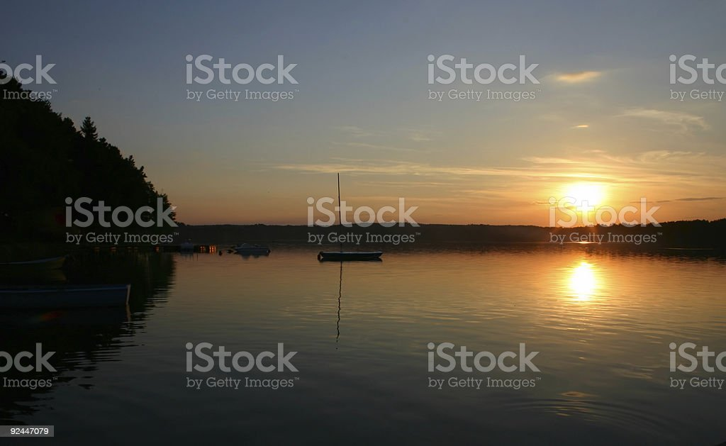 bay boats at sunset #2 royalty-free stock photo