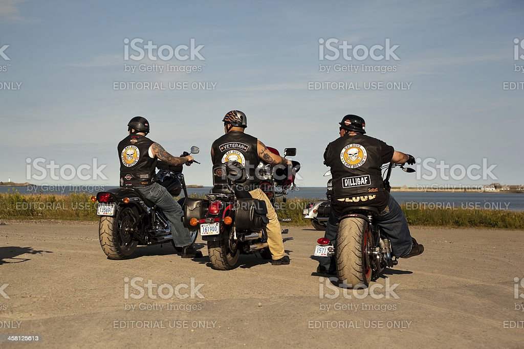 Bay Boys Bikers at Intersection stock photo