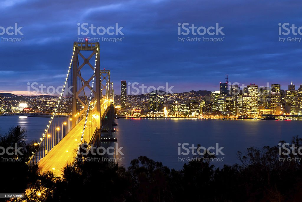 Bay Bridge after sunset royalty-free stock photo