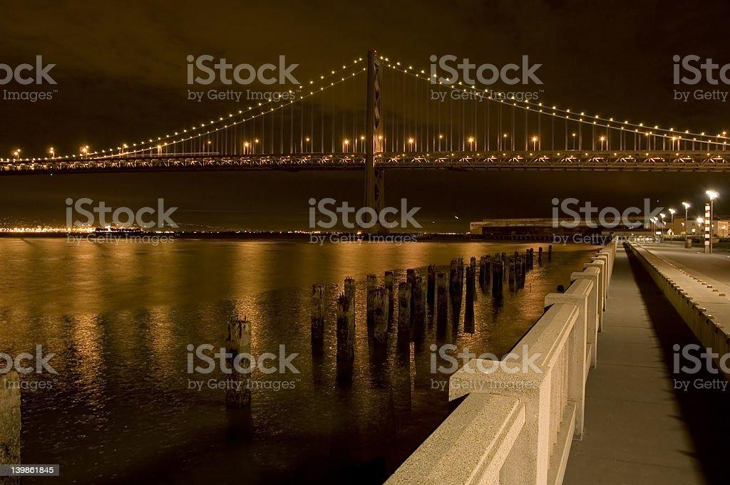 Bay Bridge and Embarcadero at Night royalty-free stock photo