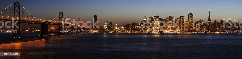 Bay Bridge and San Francisco Downtown Panorama royalty-free stock photo