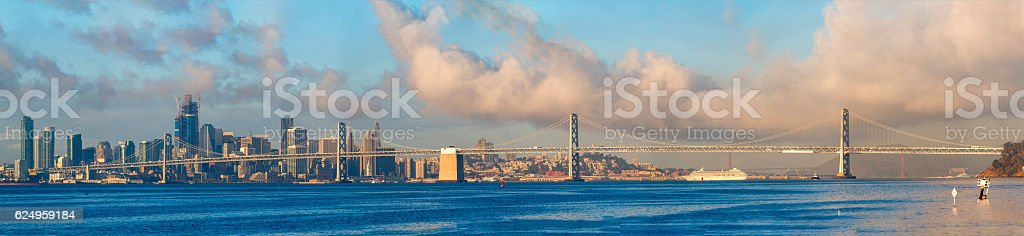 Bay Bridge and San Francisco Downtown skyline High Definition , California stock photo