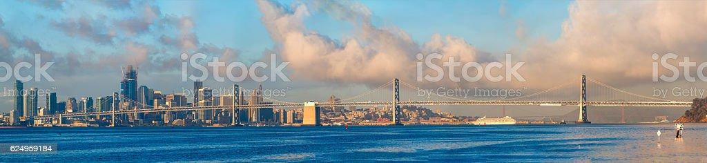 Bay Bridge and San Francisco Downtown skyline High Definition , California stock photo