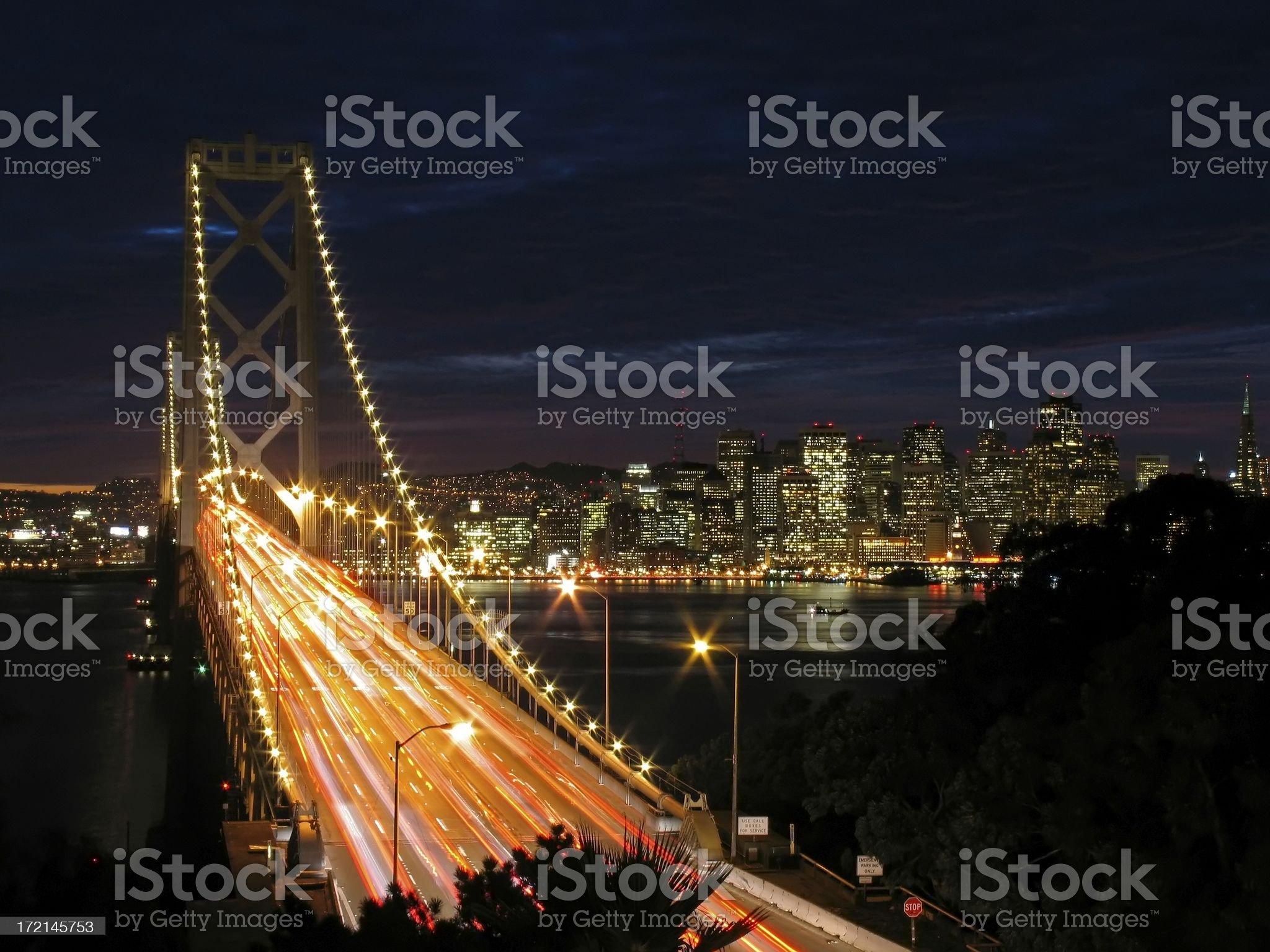 Bay Bridge and San Francisco Skyline at Sunset royalty-free stock photo