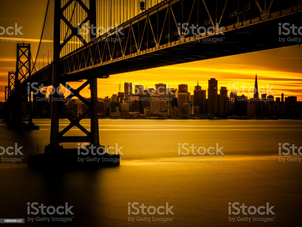 Bay Bridge and skyline of San Francisco in sunset stock photo