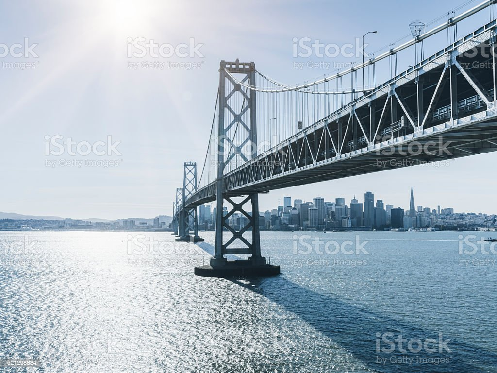 Bay Bridge and skyline of San Francisco stock photo