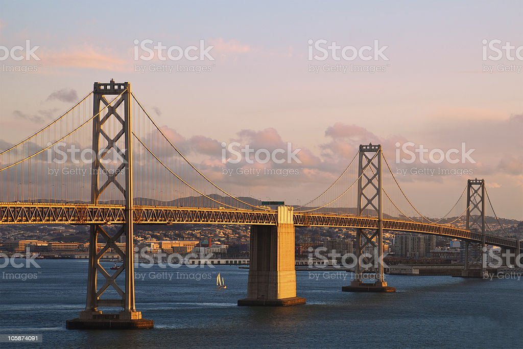 Bay Bridge at Sunset stock photo