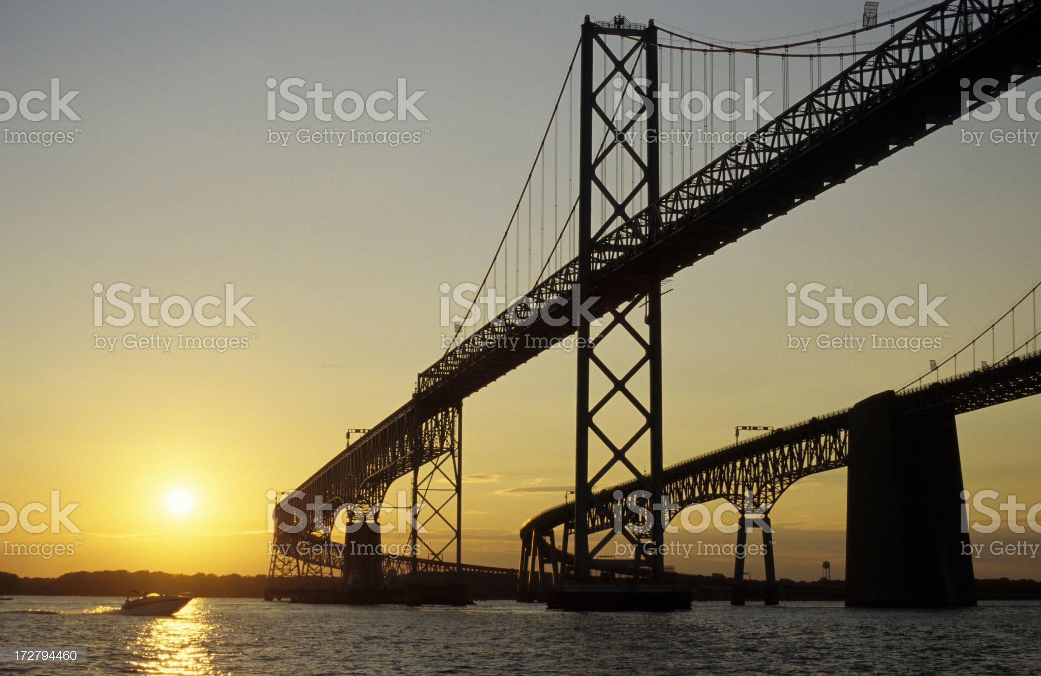 Bay Bridge at Sunset royalty-free stock photo