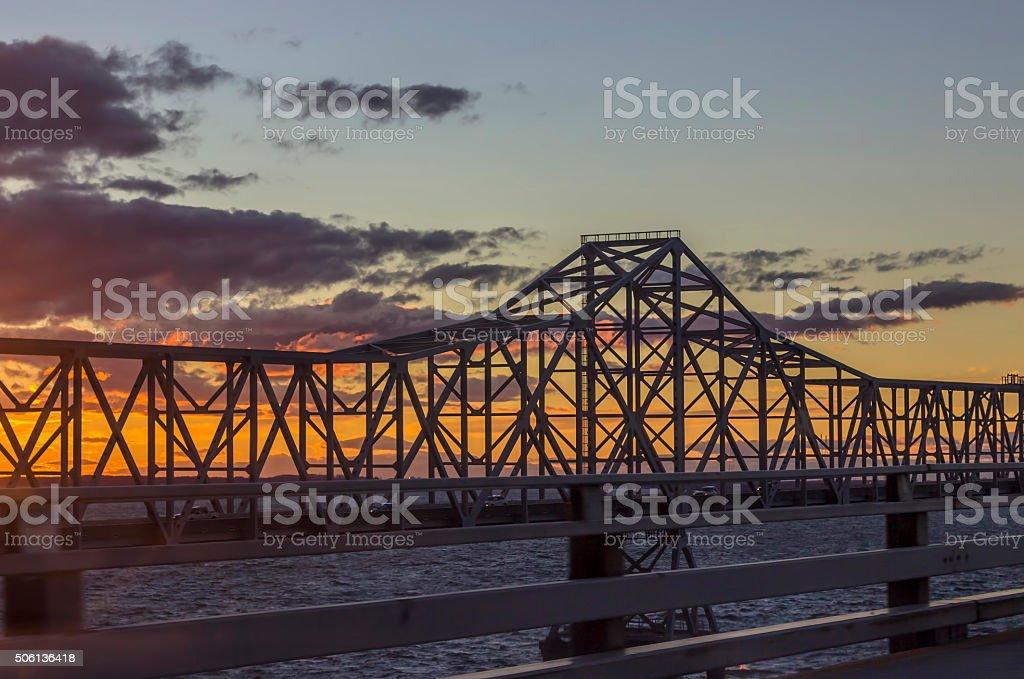 bay bridge at sunset stock photo