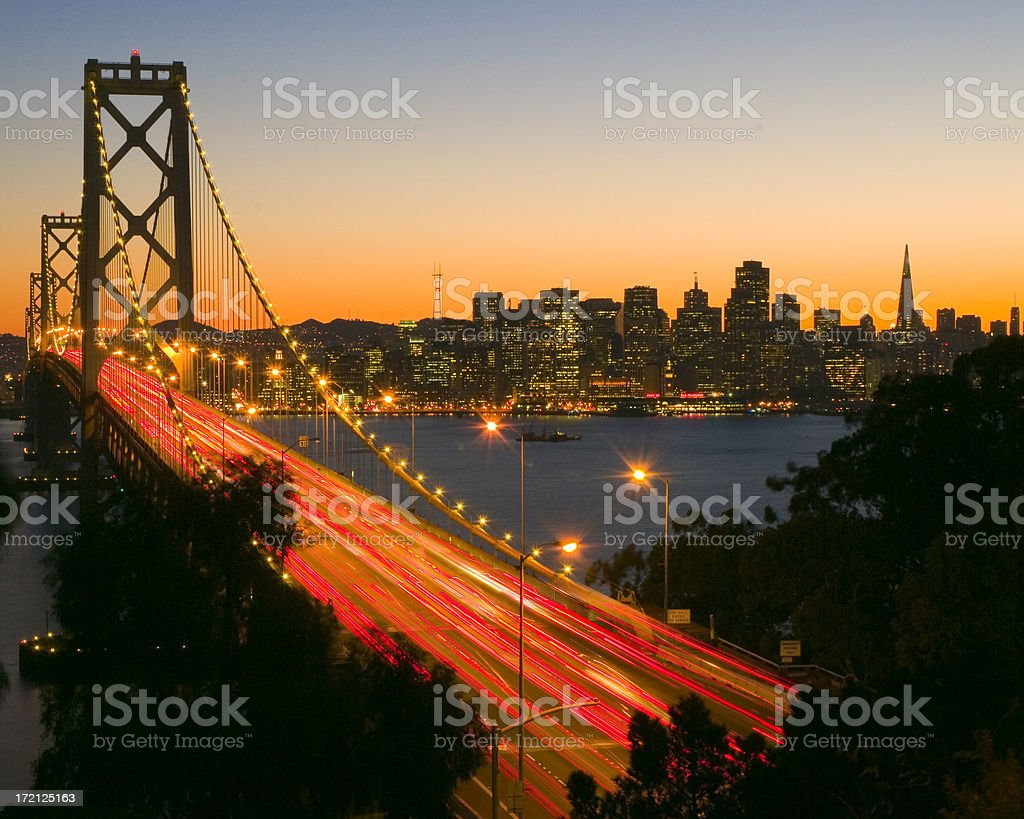 SF Bay Bridge Dusk royalty-free stock photo
