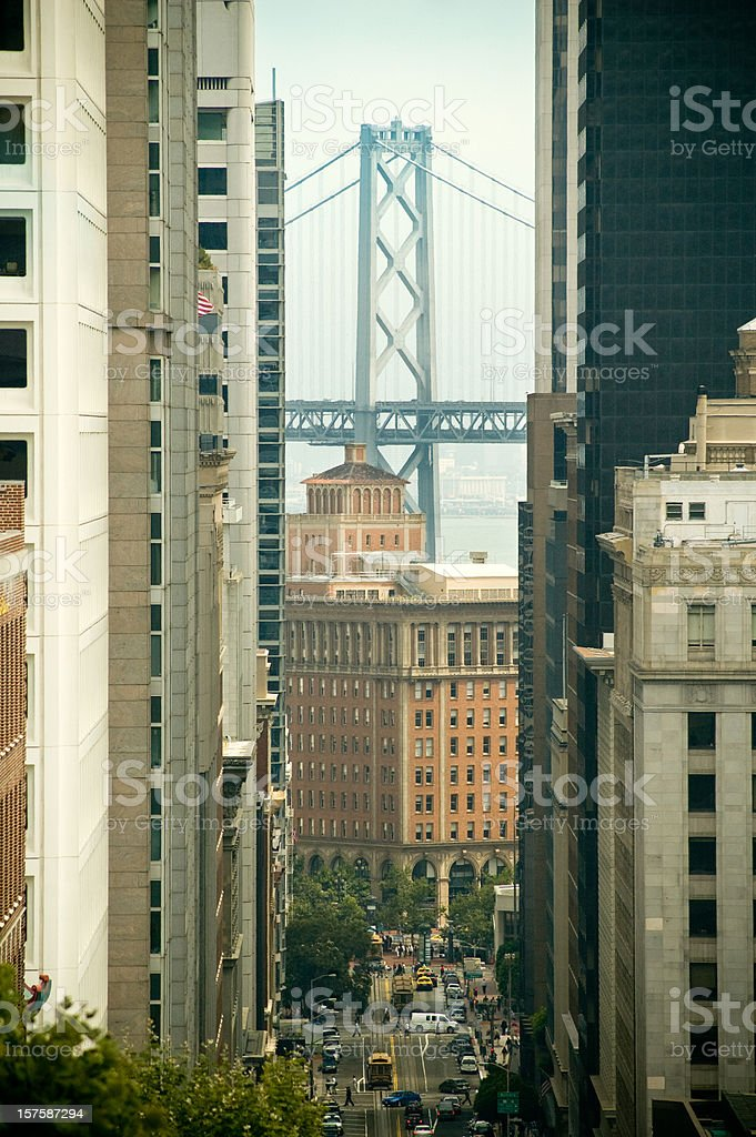 Bay bridge from California Street royalty-free stock photo