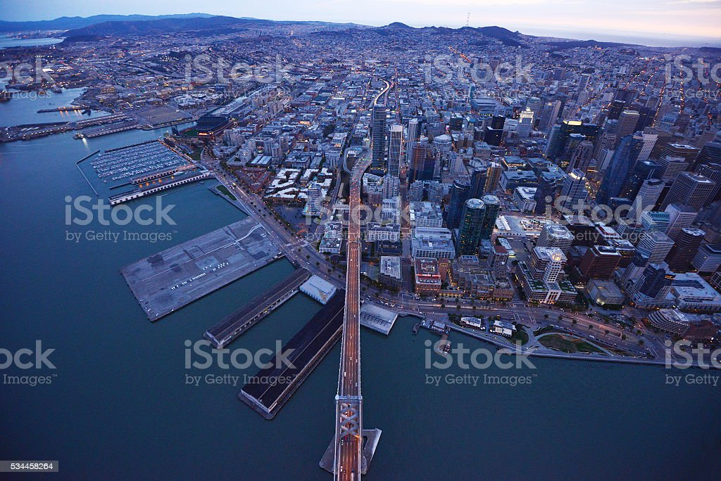 bay bridge from helicopter stock photo