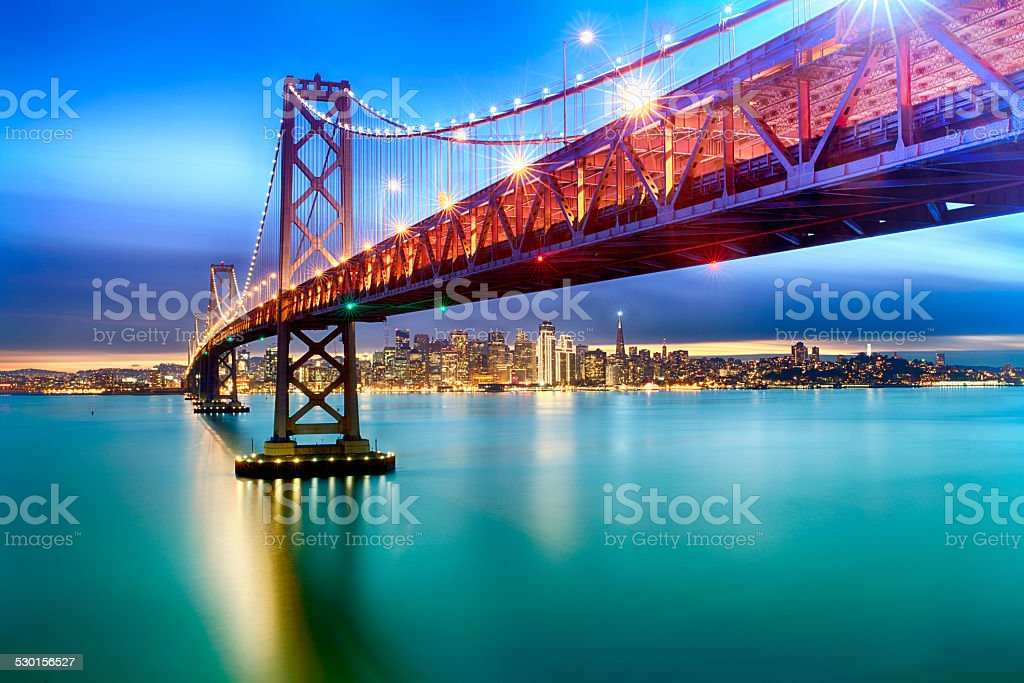 Bay Bridge Illuminated stock photo