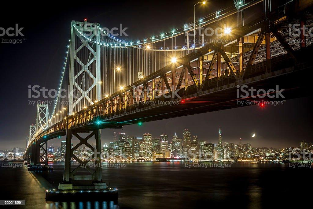 Bay Bridge in San Francisco at Night stock photo