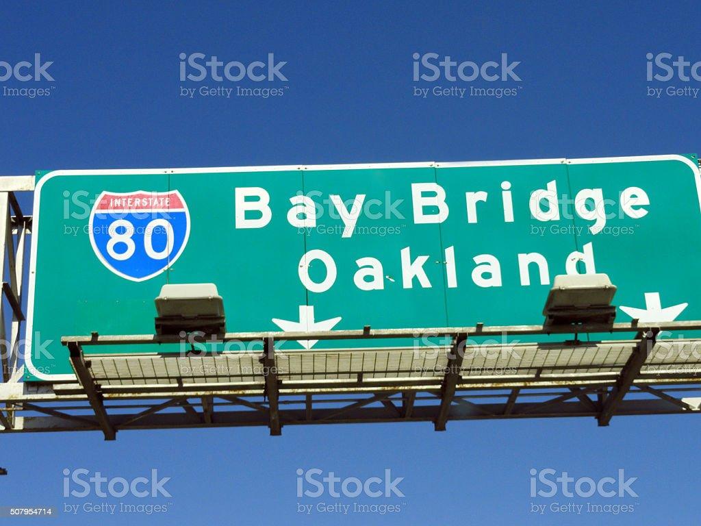 Bay Bridge Oakland Sign stock photo