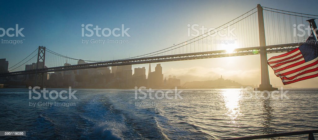 Bay Bridge San Francisco at Sunset stock photo