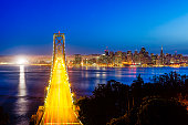 Bay Bridge with San Francisco Cityscape at Night