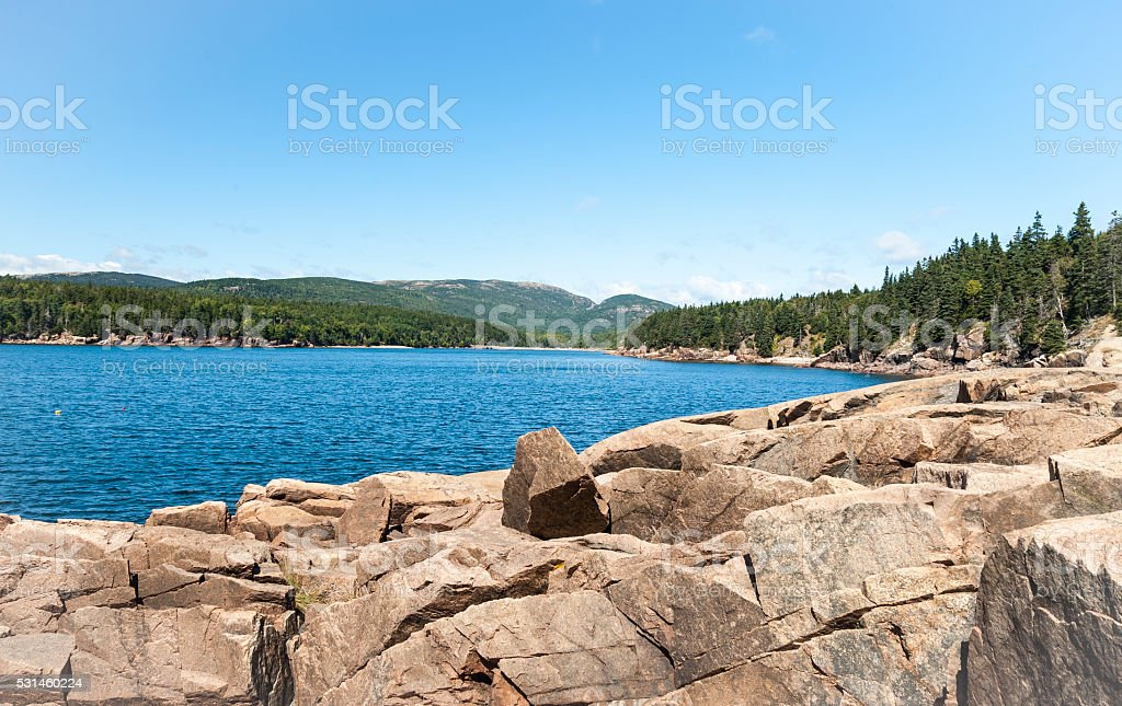 Bay in Acadia National Park stock photo