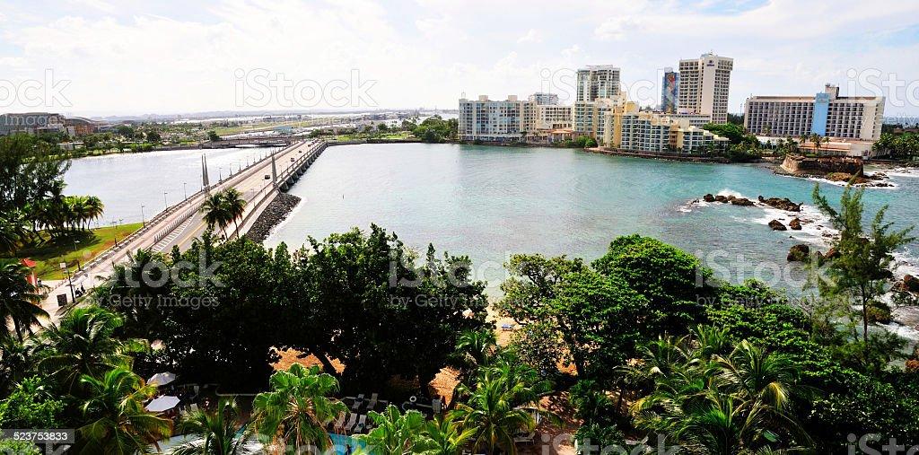 Bay in El San Juan and hotels stock photo