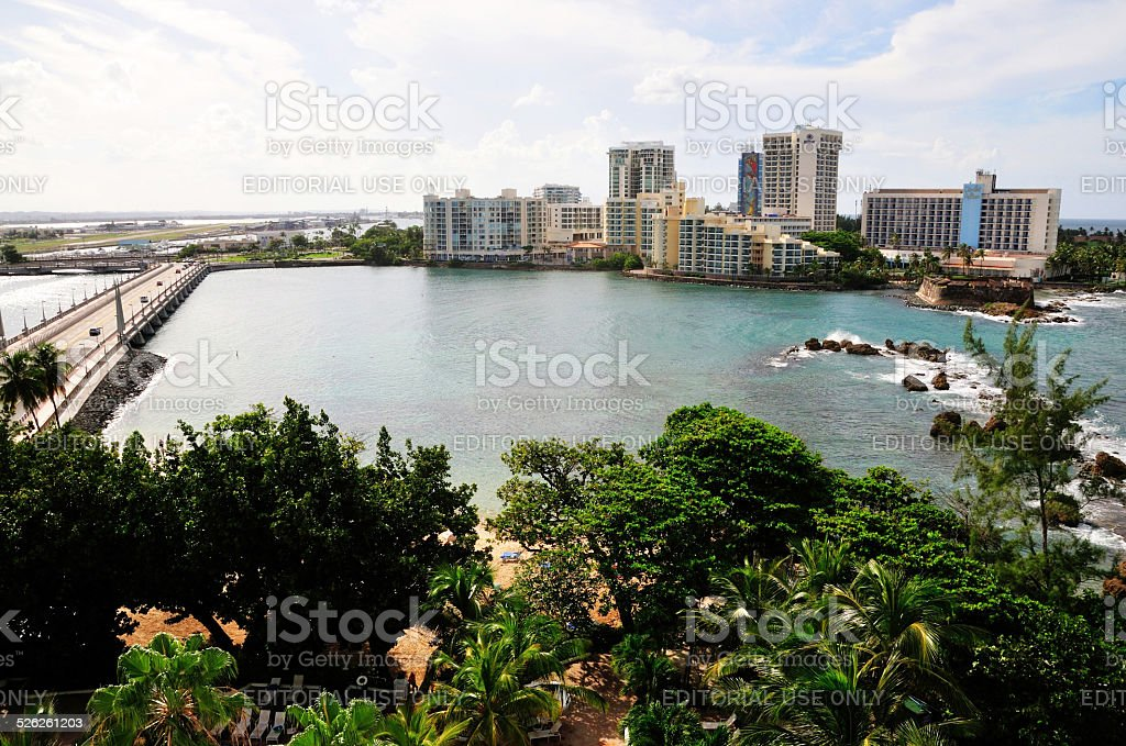 Bay in San Juan and hotels stock photo