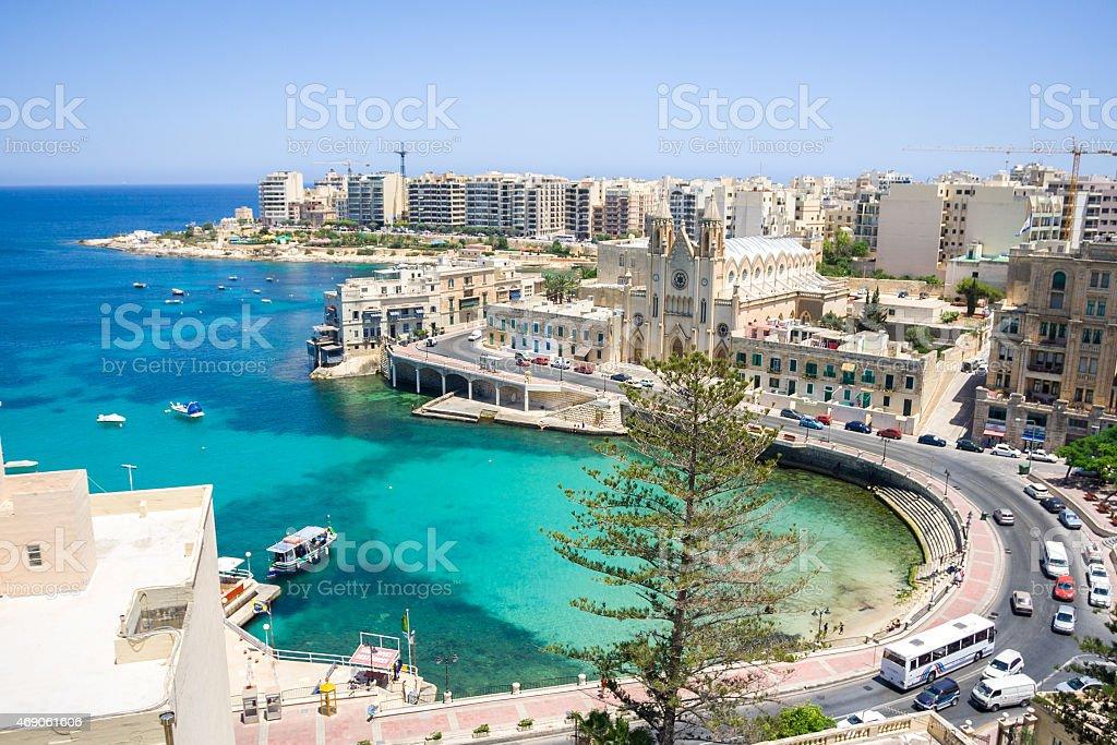 Bay in Valetta, Malta stock photo
