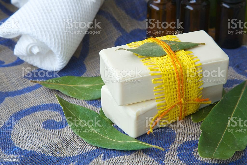 Bay leaf soap stock photo