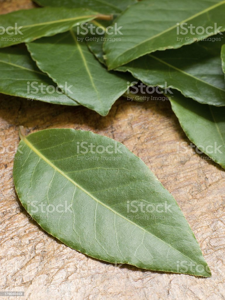 Bay Leaves On Chopping Board royalty-free stock photo