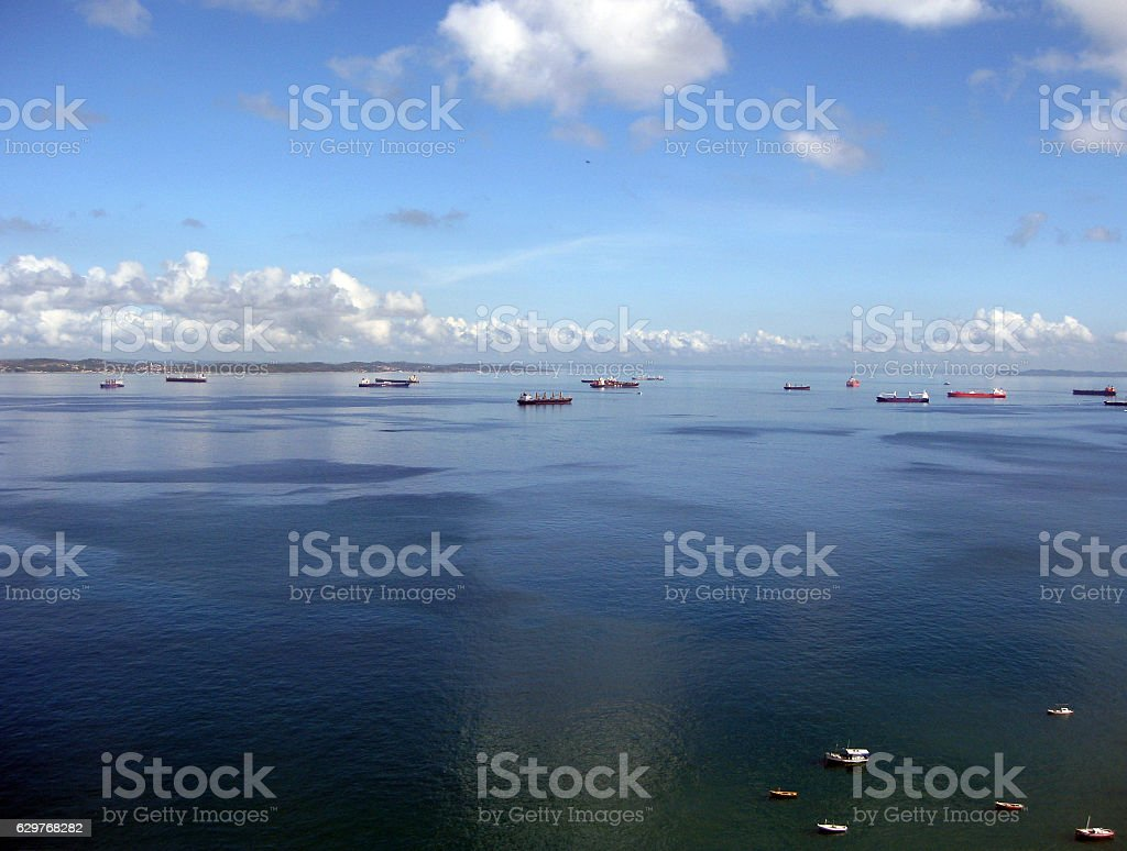 Bay of All Saints with ships and boats in Brazil stock photo