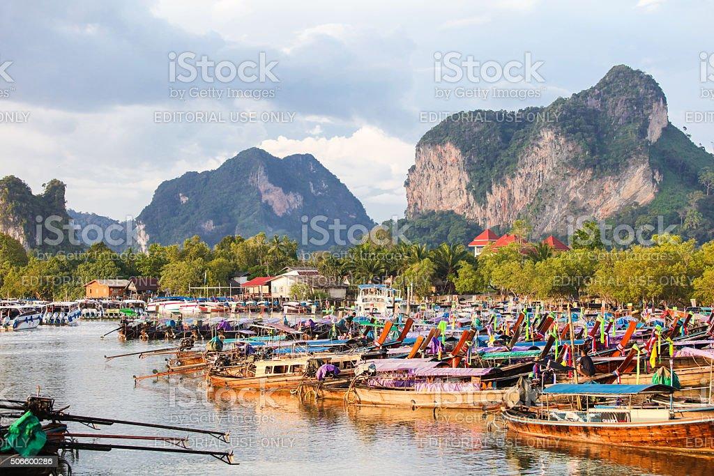 Bay of Ao Nang with lots of longtail boats stock photo