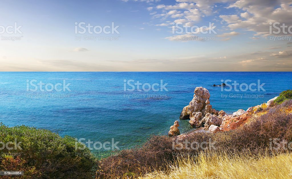 Bay of Aphrodite. Paphos, Cyprus stock photo