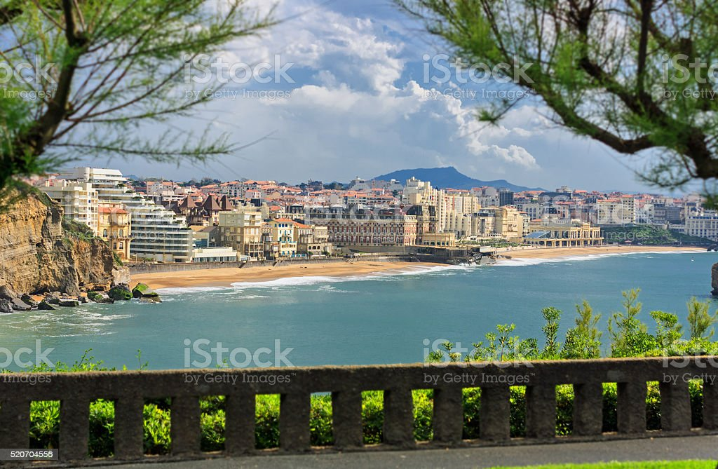 Bay of Biscay - Beach of Biarritz with stormy weather stock photo
