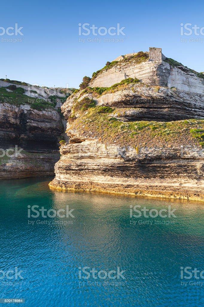 Bay of Bonifacio, vertical coastal landscape stock photo