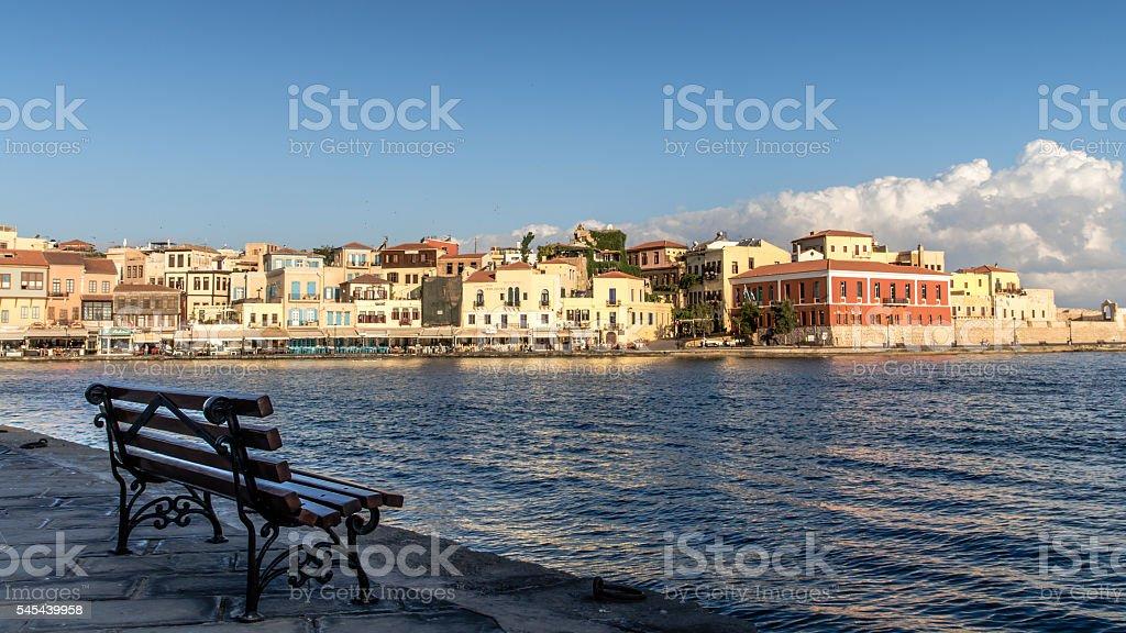 Bay of Chania in Crete Island, Greece stock photo