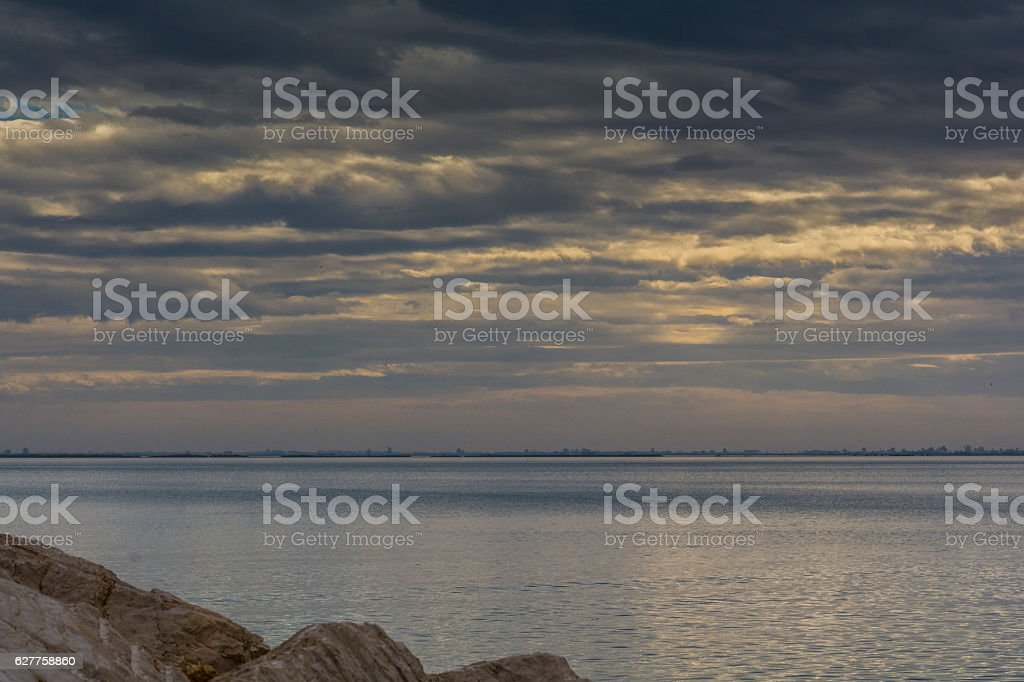 Bay of El Fangar seen from L'Ampolla stock photo