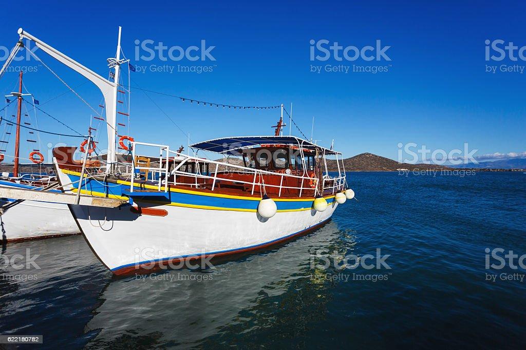 Bay of Elounda, Greece stock photo